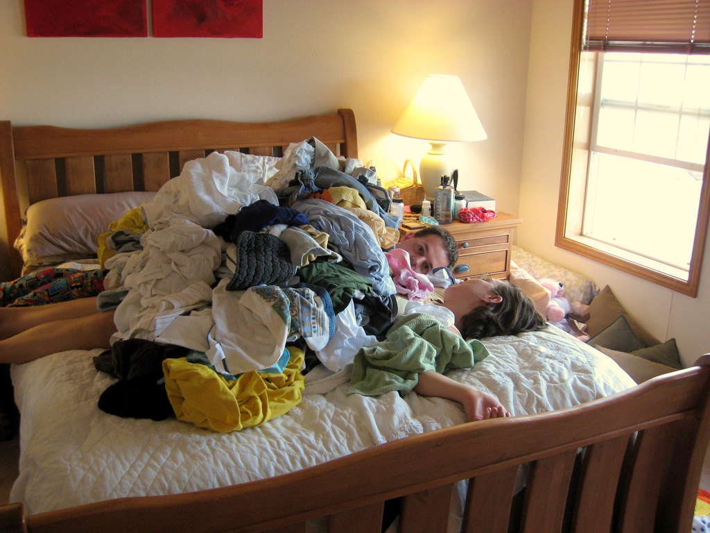 buried under clothes