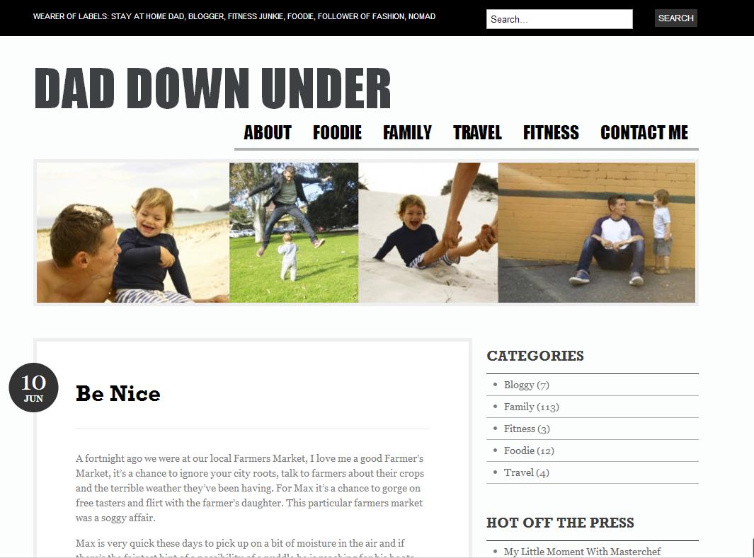 Dad Down Under homepage screen grab