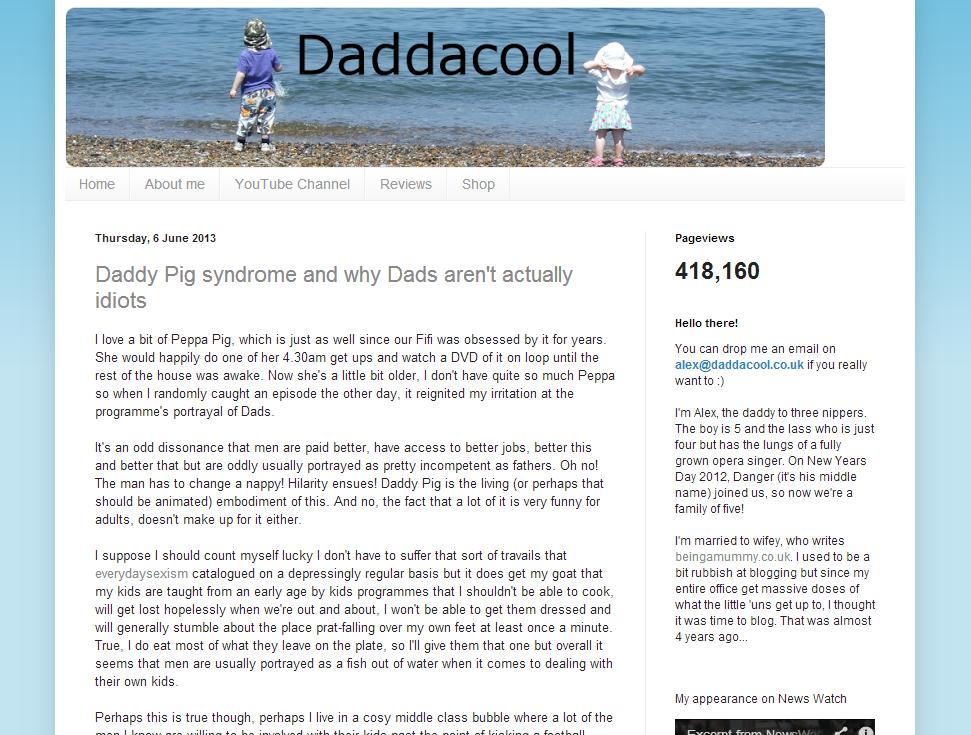 Daddacool homepage screen grab