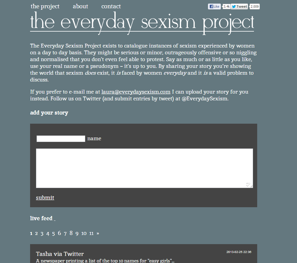 Everyday Sexism screen grab | Blogging Edge
