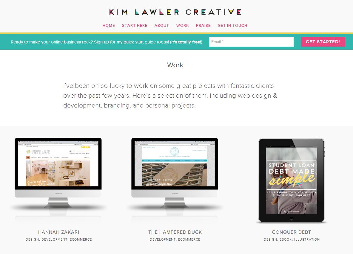 Kim Lawler Creative blog design