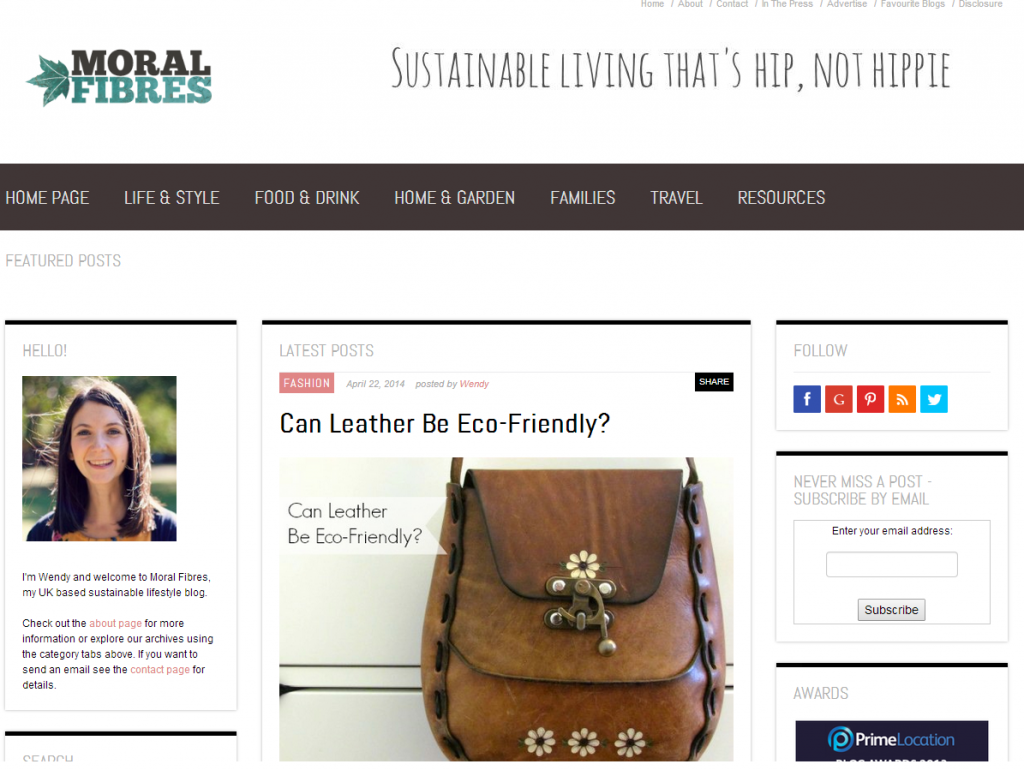 Moral Fibres blog screen grab