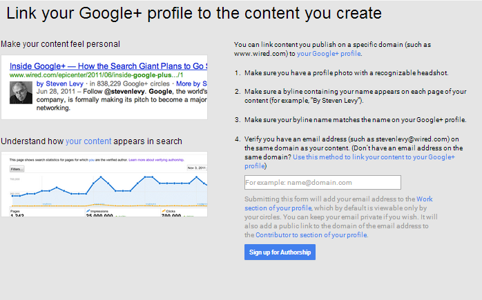 Signing up for Google+ Authorship
