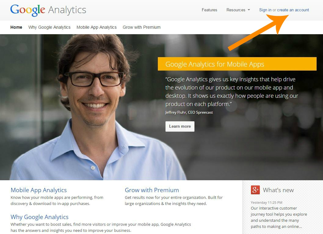 analytics homepage